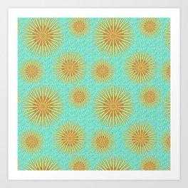 Summer Flowers - Blue Art Print
