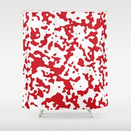 Spots - White and Fire Engine Red Shower Curtain