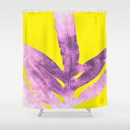 Green Fern on Bright Yellow Inverted Shower Curtain