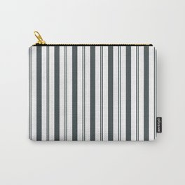 PPG Night Watch Pewter Green & White Wide & Narrow Vertical Lines Stripe Pattern Carry-All Pouch