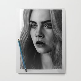 Cara Delevingne Sad Love Portrait Metal Print