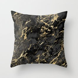 Black & Gold Marble Throw Pillow