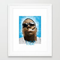 biggie Framed Art Prints featuring Biggie by KVNCHRLZ
