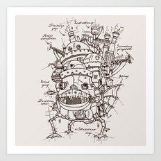 Howl's Moving Castle Plan Art Print