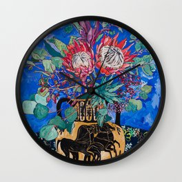 Painterly Bouquet of Proteas in Greek Horse Urn on Blue Wall Clock