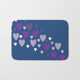 Asymmetrical hearts (blue, lavender & purple) Bath Mat