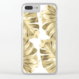 Gold Monstera Leaves on White Clear iPhone Case