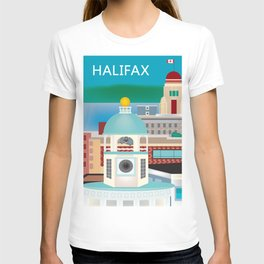 Halifax, Nova Scotia, Canada - Skyline Illustration by Loose Petals T-shirt