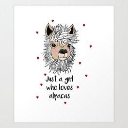 alpaca girl Llama Love Present Gift Art Print