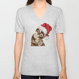 Christmas Baby Cat Unisex V-Neck