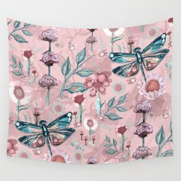 Rose Gold Dragonfly Garden | Pastel Wall Tapestry