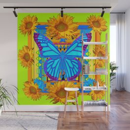 Lime Sunflower Blue Butterfly Floral Wall Mural