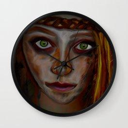 Girl with Headband and Green Eyes Wall Clock