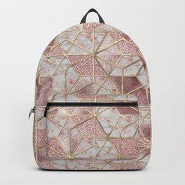 Modern rose gold geometric star flower pattern Backpack