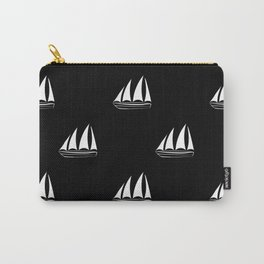 White Sailboat Pattern on black background Carry-All Pouch