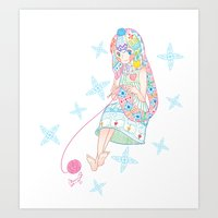 knitting Art Prints featuring Knitting  by Moonsia