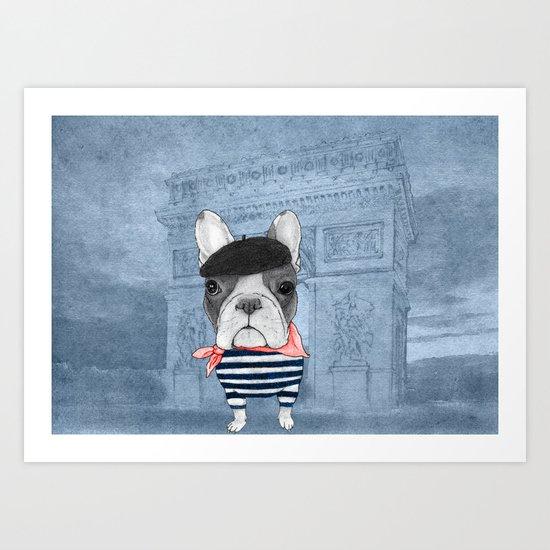 French Bulldog. (panoramic view version) Art Print