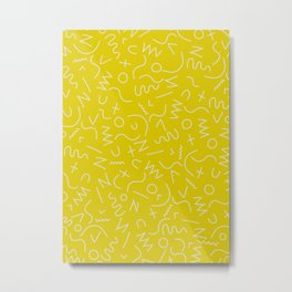 Scribbles on Chartreuse Metal Print