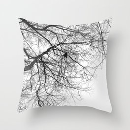 Bare Branches Hold Heart Nest Throw Pillow