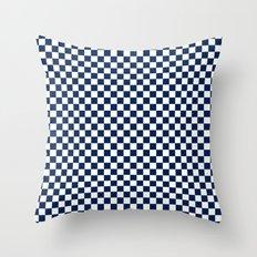 Checkered Blue and White Throw Pillow
