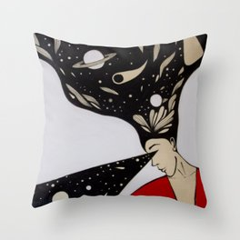 Space lady In Red Throw Pillow