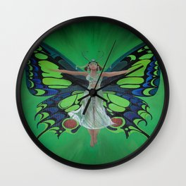 Art Nouveau Vintage Flapper With Butterfly Wings Wall Clock