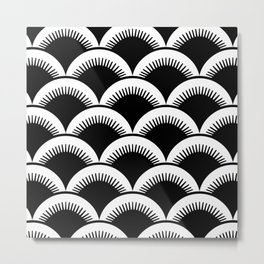 Japanese Fan Pattern Black and White Metal Print