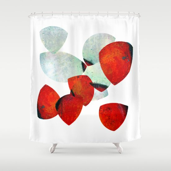 composition in red and grey Shower Curtain