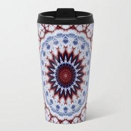 Mandala Fractal in Red White and Blue 01 Travel Mug