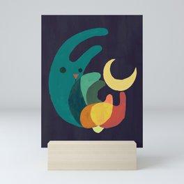 Rabbit and crescent moon Mini Art Print