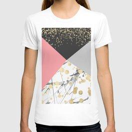 Modern faux gold pink color block confetti T-shirt