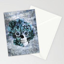 Blue grunge ohm skull Stationery Cards