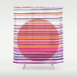 Sunset colorful stripes and sun pattern Shower Curtain