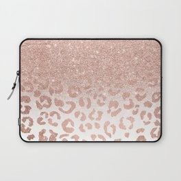 Trendy modern faux rose gold glitter ombre leopard pattern Laptop Sleeve