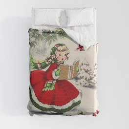 Vintage Christmas Girl Duvet Cover