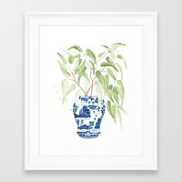 Framed Art Prints featuring Ginger Jar + Eucalyptus by THE AESTATE