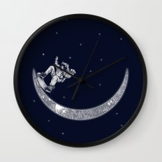 Skate in space Wall Clock
