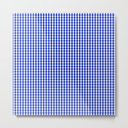 Small Cobalt Blue and White Gingham Check Plaid Squared Pattern Metal Print