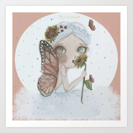 Mirasol Blue Pixie, Sunflower fairy Art Print