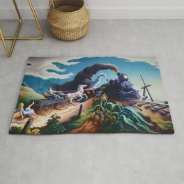 Classical Masterpiece 'Wreck of the Ol' 97' By Thomas Hart Benton Rug