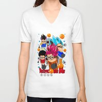 dragonball V-neck T-shirts featuring Rise of Mini Dragonball by cungtudaeast