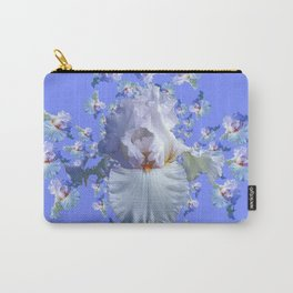 BLUE-WHITE IRIS ABSTRACT PATTERN Carry-All Pouch