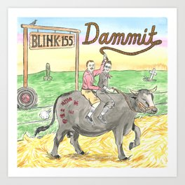 """Two Dudes on a Ranch """"Dammit"""" version Art Print"""