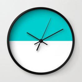 White and Cyan Horizontal Halves Wall Clock