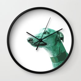 Green Greyhound. Pop Art portrait. Wall Clock