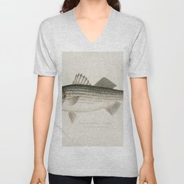 Striped Bass( Roccus Lineatus) illustrated by Sherman F Denton (1856-1937) from Game Birds and Fishe Unisex V-Neck