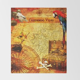 Credendo Vides Old Pirate Map Throw Blanket