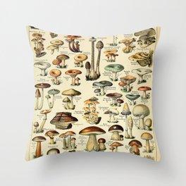 Adolphe Millot- Vintage Mushrooms Illustration Throw Pillow
