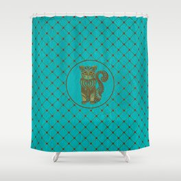 Zentangle  Cat Embossed on Faux Leather Shower Curtain