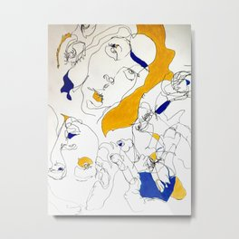 Self in Blue and Yellow Metal Print